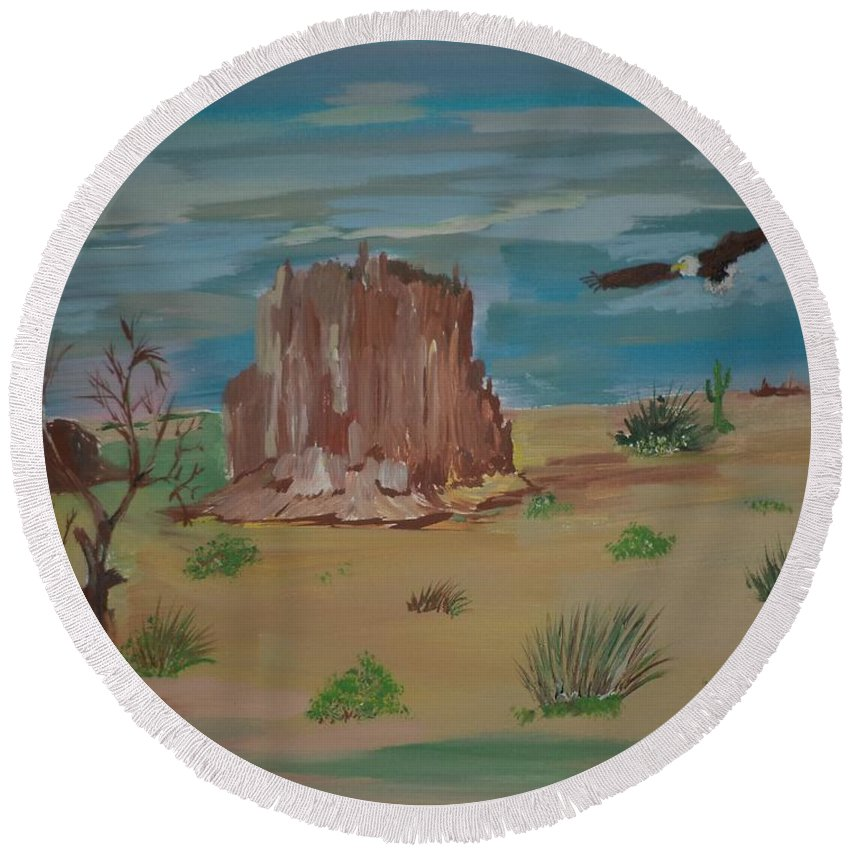Acrylic Round Beach Towel featuring the painting Soaring Eagle by Donald Northup