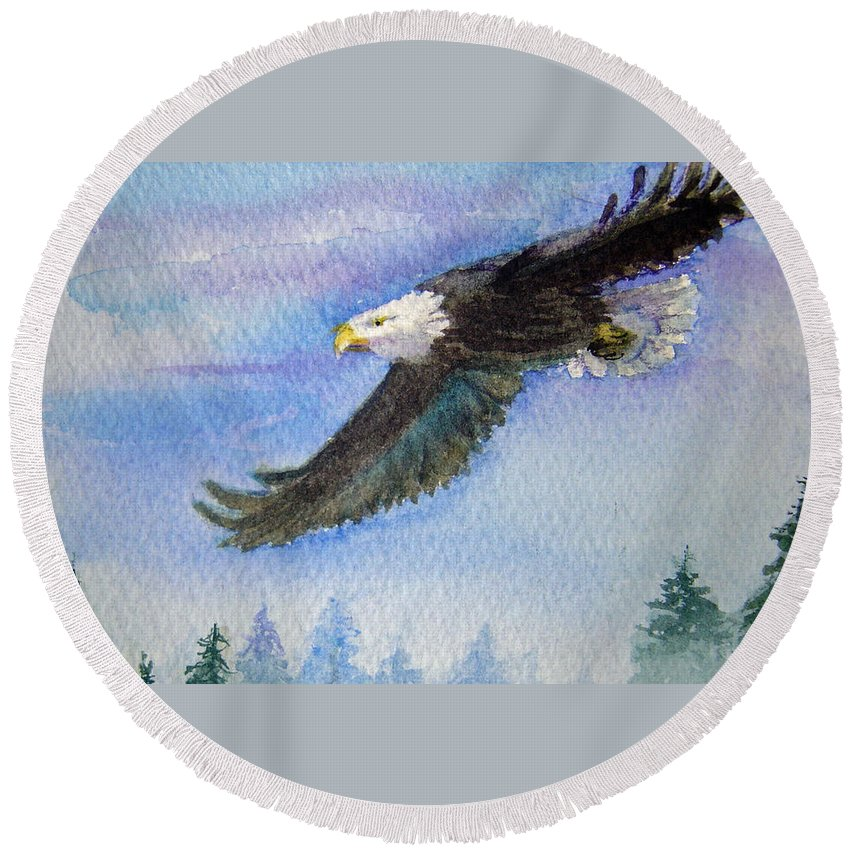 Eagle Round Beach Towel featuring the painting Soaring Eagle by Katherine Berlin