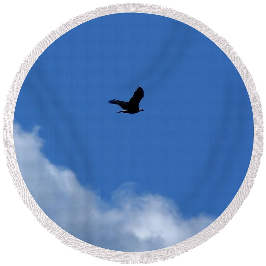 Birds Round Beach Towel featuring the photograph Soaring High Above The Clouds by Ben Upham III
