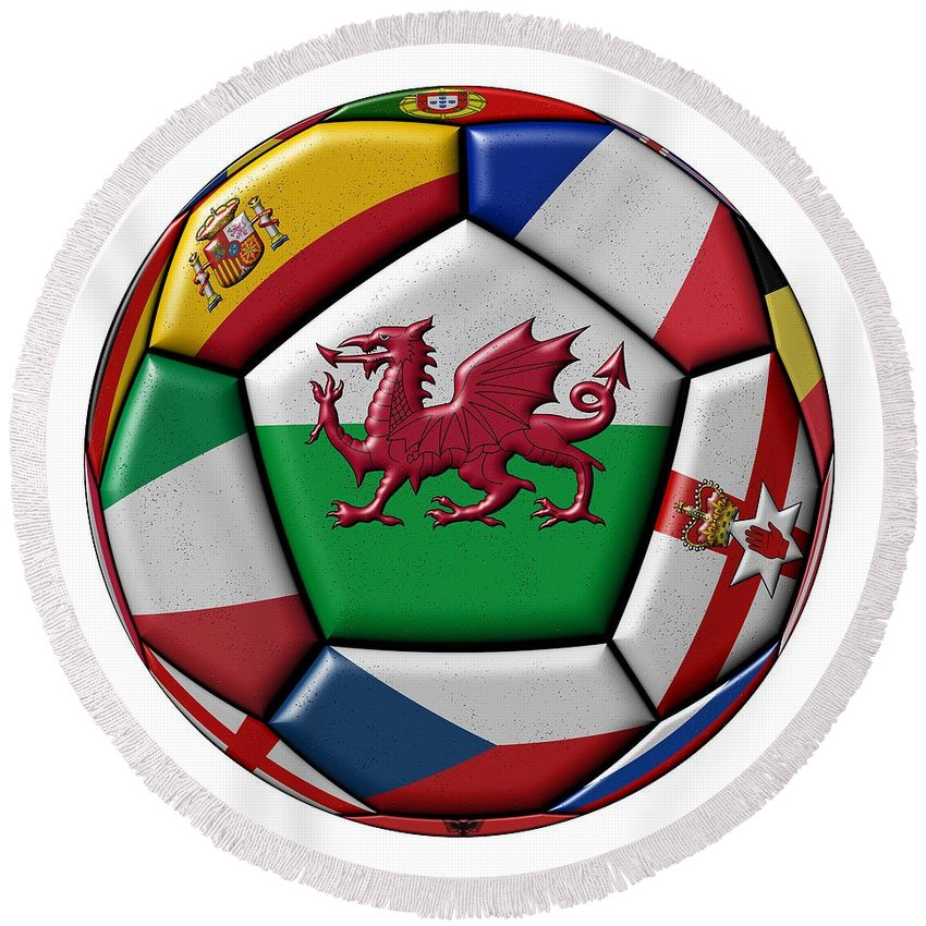 Europe Round Beach Towel featuring the digital art Soccer Ball With Flag Of Wales In The Center by Michal Boubin