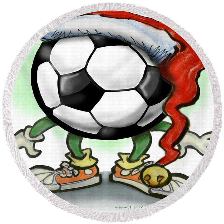 Soccer Round Beach Towel featuring the greeting card Soccer Christmas by Kevin Middleton