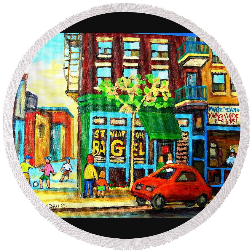 St Viateur Bagel Shop Montreal Street Scenes Round Beach Towel featuring the painting Soccer Game At The Bagel Shop by Carole Spandau