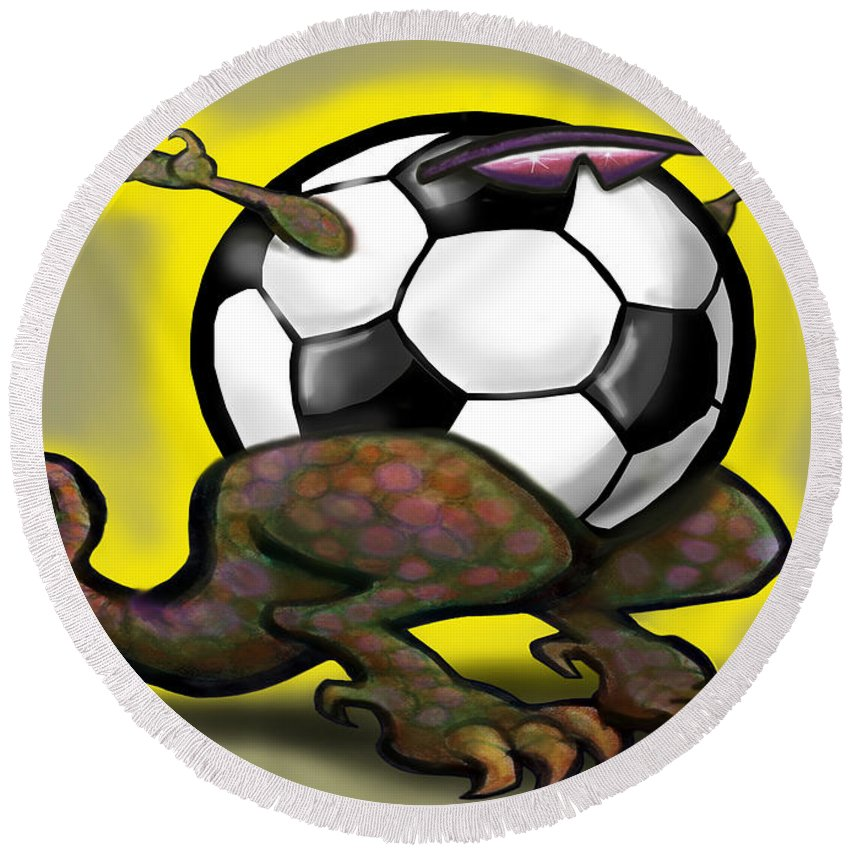 Soccer Round Beach Towel featuring the digital art Soccer Saurus Rex by Kevin Middleton