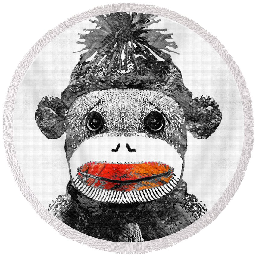 Sock Monkey Round Beach Towel featuring the painting Sock Monkey Art In Black White And Red - By Sharon Cummings by Sharon Cummings