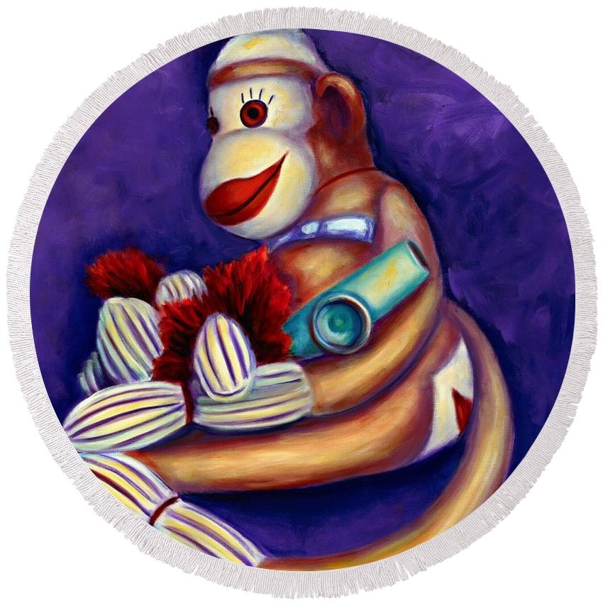Children Round Beach Towel featuring the painting Sock Monkey With Kazoo by Shannon Grissom
