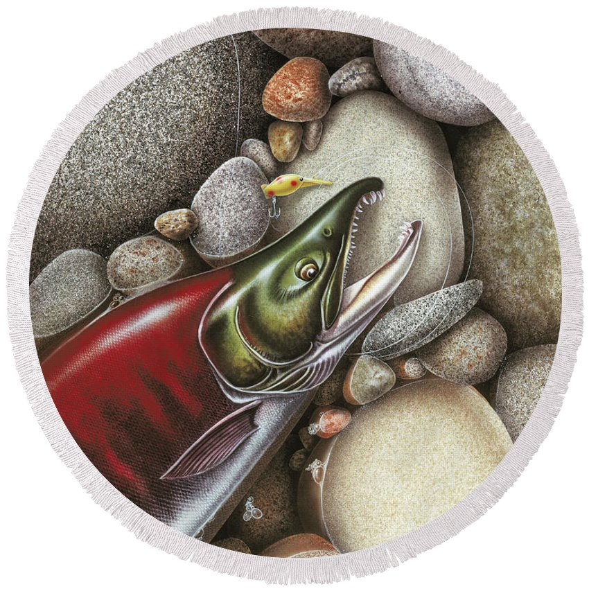 Jon Q Wright Round Beach Towel featuring the painting Sockeye Salmon by Jon Wright