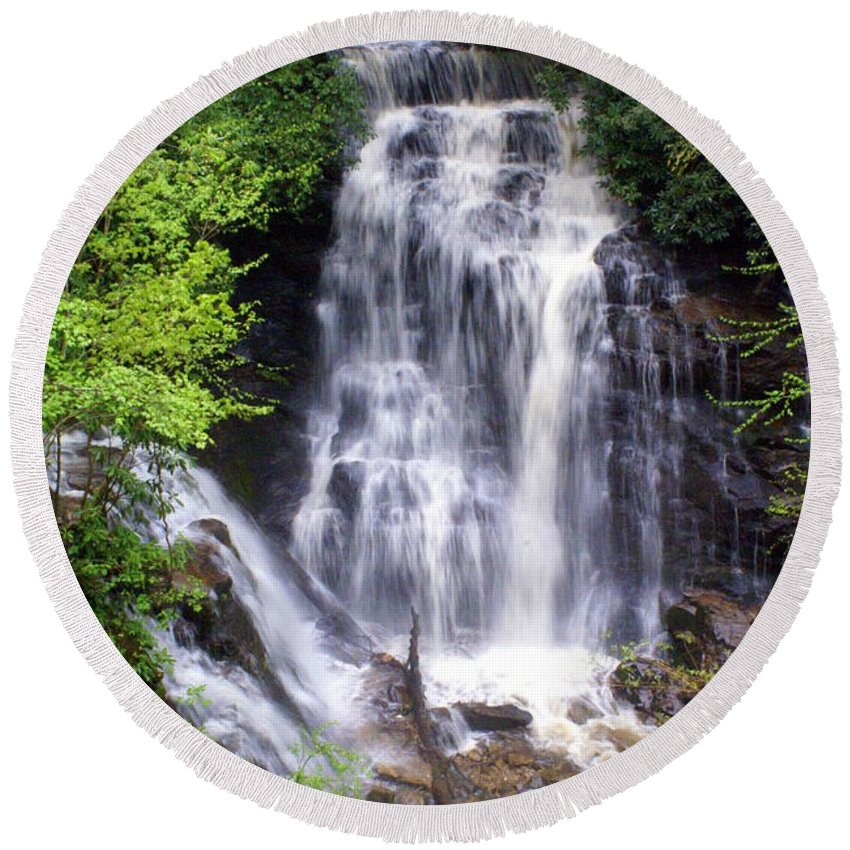 Soco Galls Round Beach Towel featuring the photograph Soco Falls 1 by Marty Koch