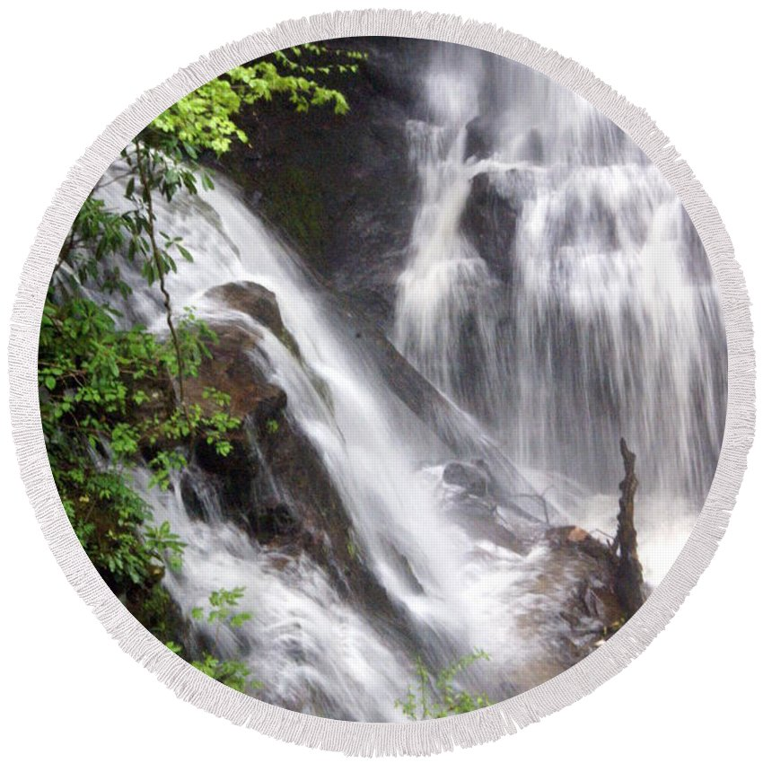 Soco Galls Round Beach Towel featuring the photograph Soco Falls 2 by Marty Koch