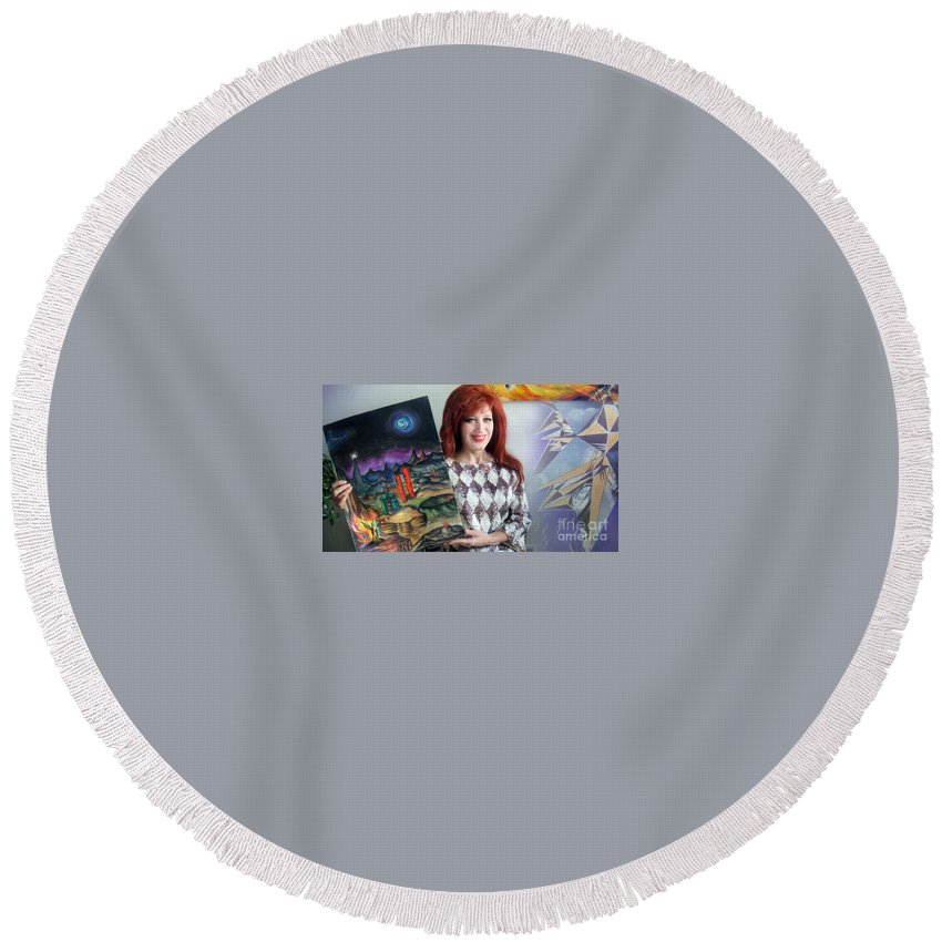 Sofia Goldberg Round Beach Towel featuring the photograph Sofia Goldber - About Mars Civilization. 5 by Sofia Metal Queen