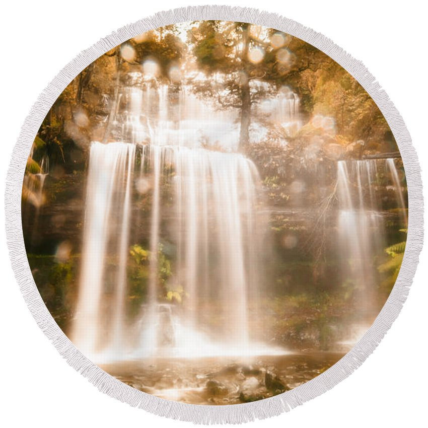 Stream Round Beach Towel featuring the photograph Soft Dream Like Waterfall by Jorgo Photography - Wall Art Gallery