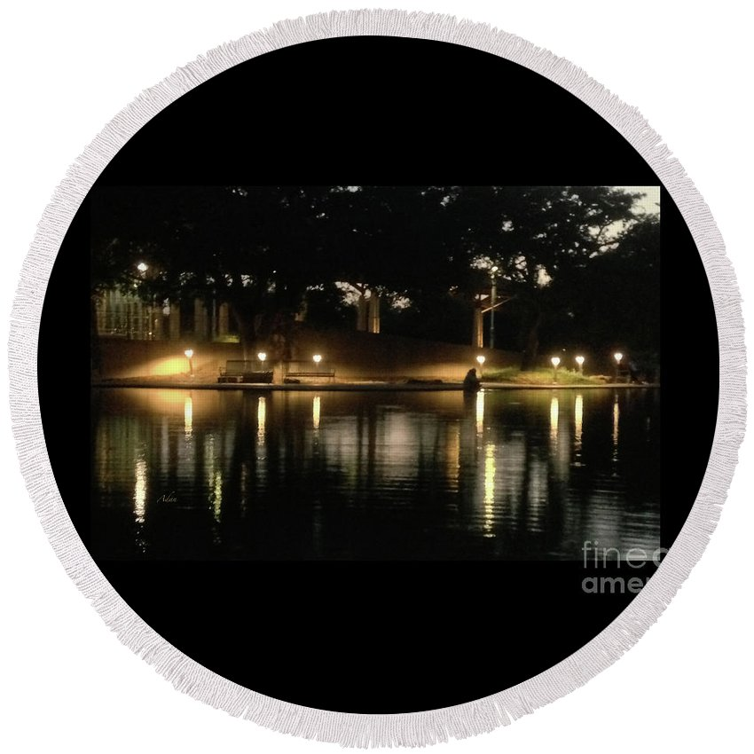 Night In The City Round Beach Towel featuring the photograph Soft Evening At Palmer Pond Poster Black Border No Text by Felipe Adan Lerma
