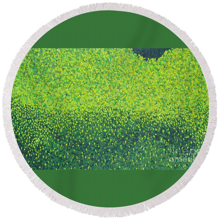 Abstract Round Beach Towel featuring the painting Soft Green Wet Trees by Dean Triolo