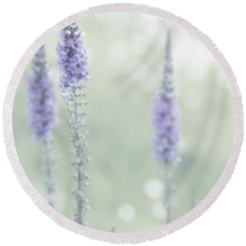 Flowres Round Beach Towel featuring the photograph Soft Pastels by Svetlana Sewell