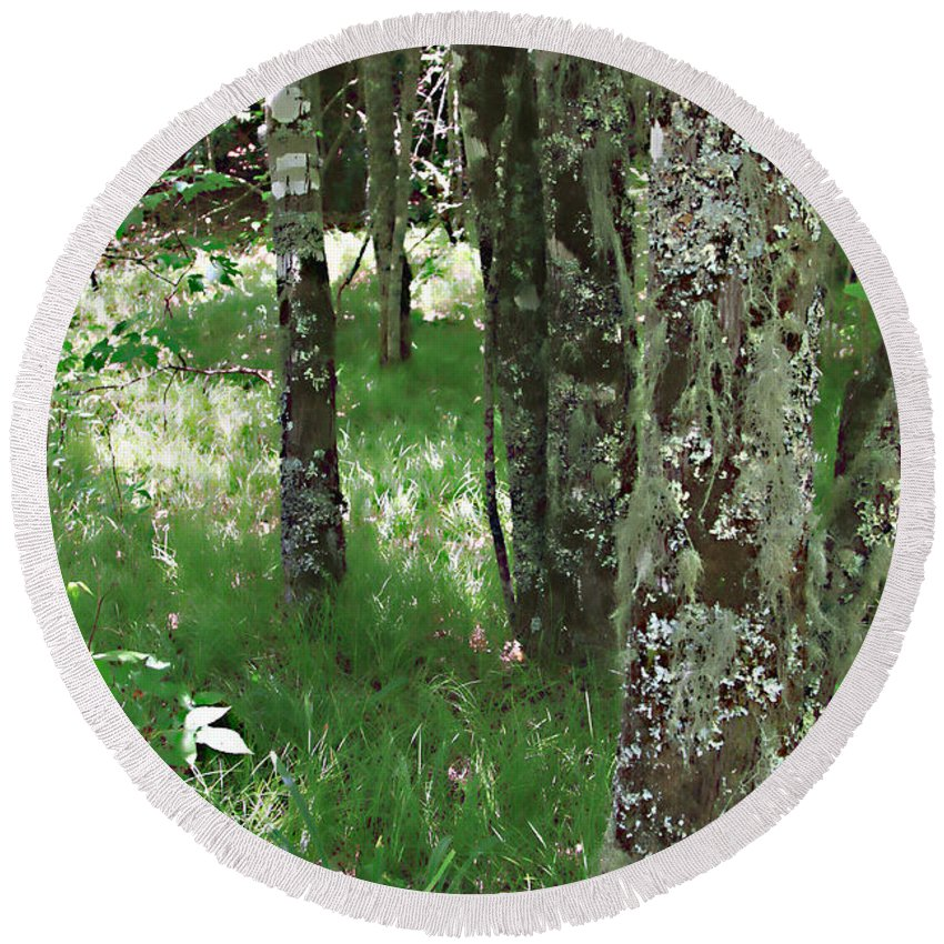 Trees Forrest Green Photograph Photography Digital Summer Round Beach Towel featuring the photograph Soft Trees by Shari Jardina