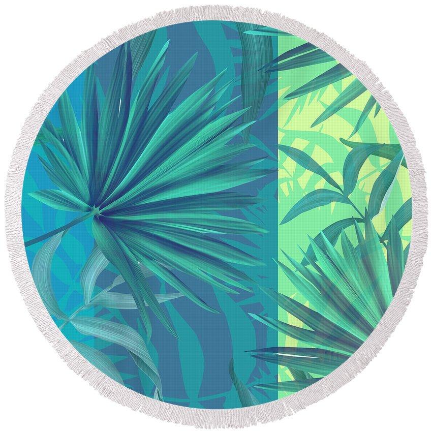 Summer Round Beach Towel featuring the digital art Soft Tropic by Mark Ashkenazi