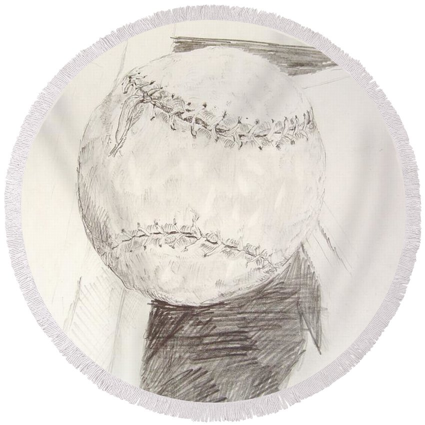 Onion Round Beach Towel featuring the drawing Softball by Ron Bissett
