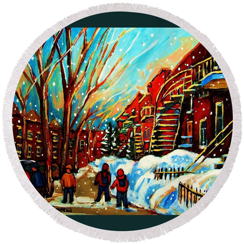 Montreal Round Beach Towel featuring the painting Softly Snowing by Carole Spandau