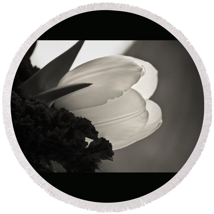 Floral Round Beach Towel featuring the photograph Lit Tulip by Marilyn Hunt