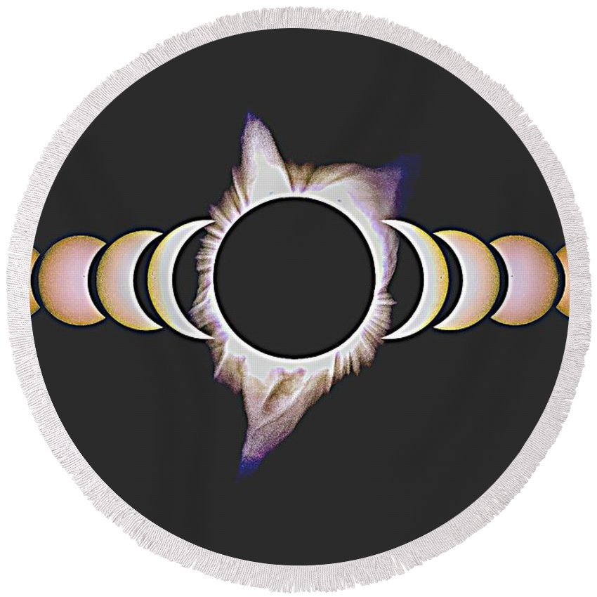 Sun Round Beach Towel featuring the painting Solar Eclipse, 25 by Celestial Images