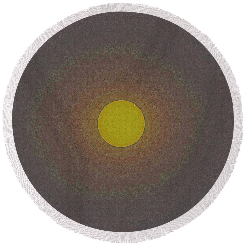 Sun Round Beach Towel featuring the painting Solar Eclipse, 26 by Celestial Images