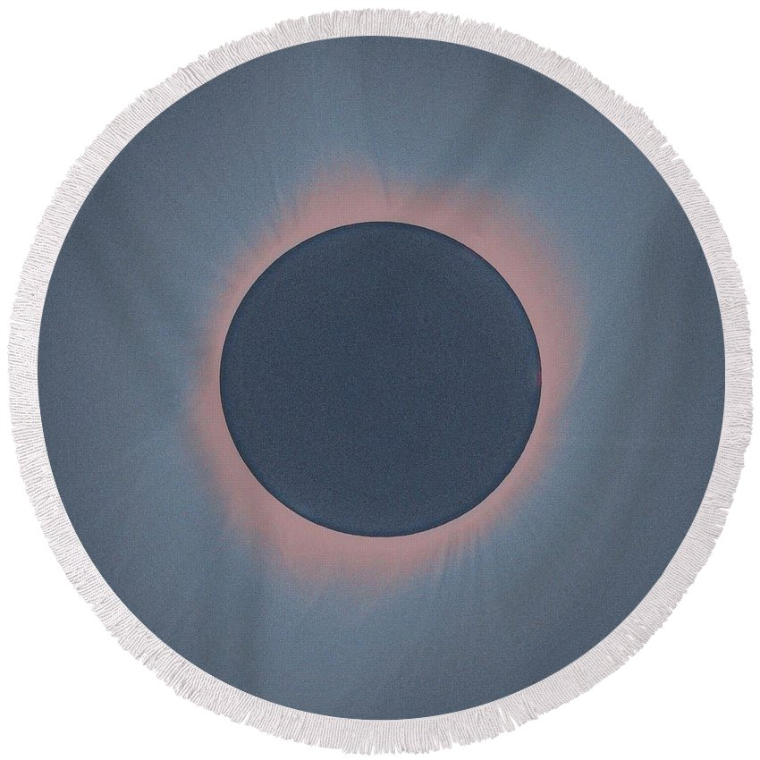 Round Beach Towel featuring the painting Solar Eclipse, As Seen Above Madras, Oregon, U.s. By Nasa 4 by Celestial Images