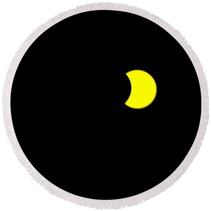 Sun Round Beach Towel featuring the painting Solar Eclipse, Cookie Bite by Celestial Images