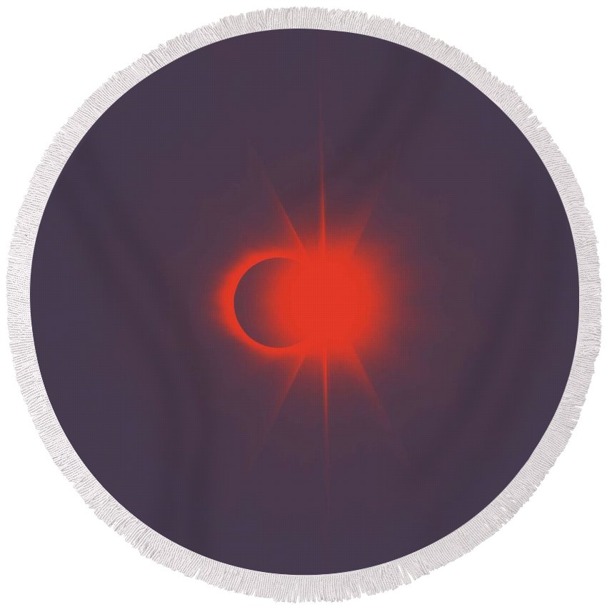 Sun Round Beach Towel featuring the painting Solar Eclipse, Diamond Ring 2b by Celestial Images
