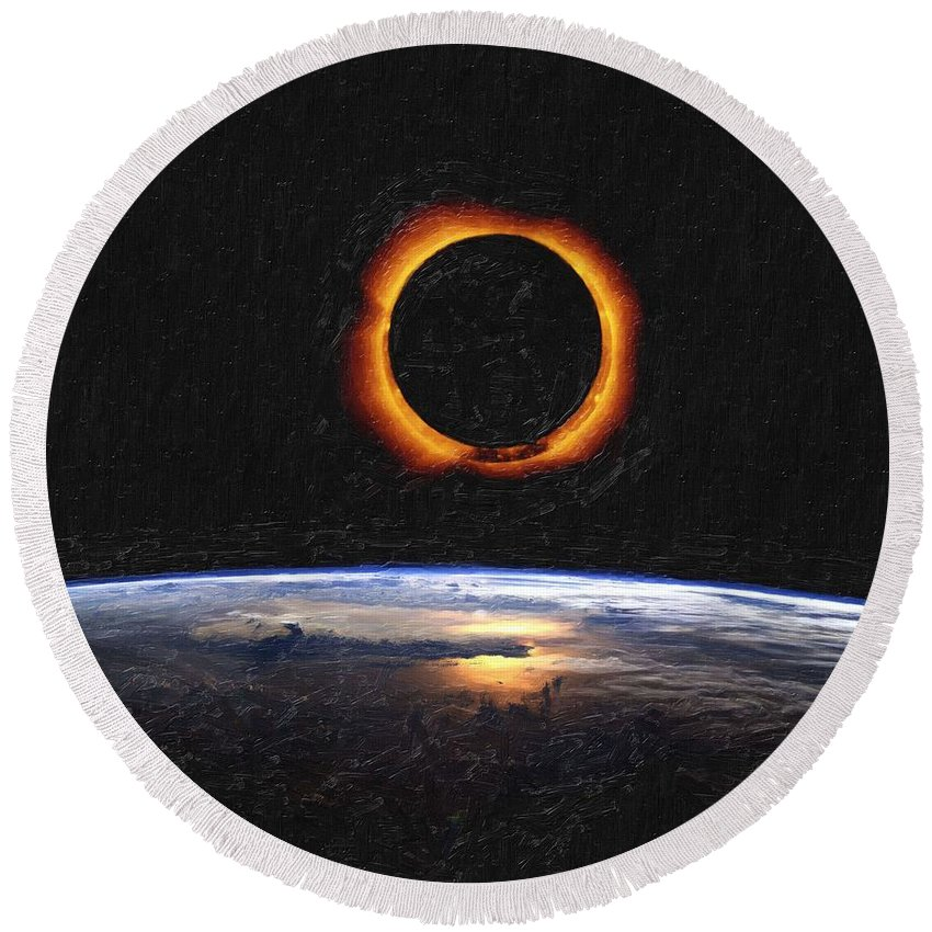 Sun Round Beach Towel featuring the painting Solar Eclipse From Above The Earth Painting by Celestial Images