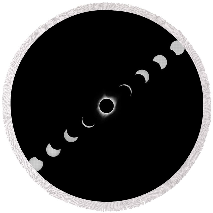 Solar Eclipse Round Beach Towel featuring the photograph Solar Eclipse Full Composite White by Max Waugh