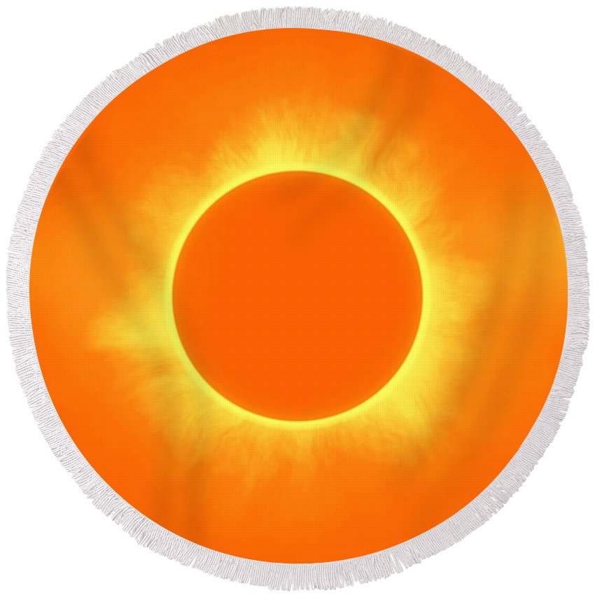 Sun Round Beach Towel featuring the painting Solar Eclipse In Daffodil Color by Celestial Images