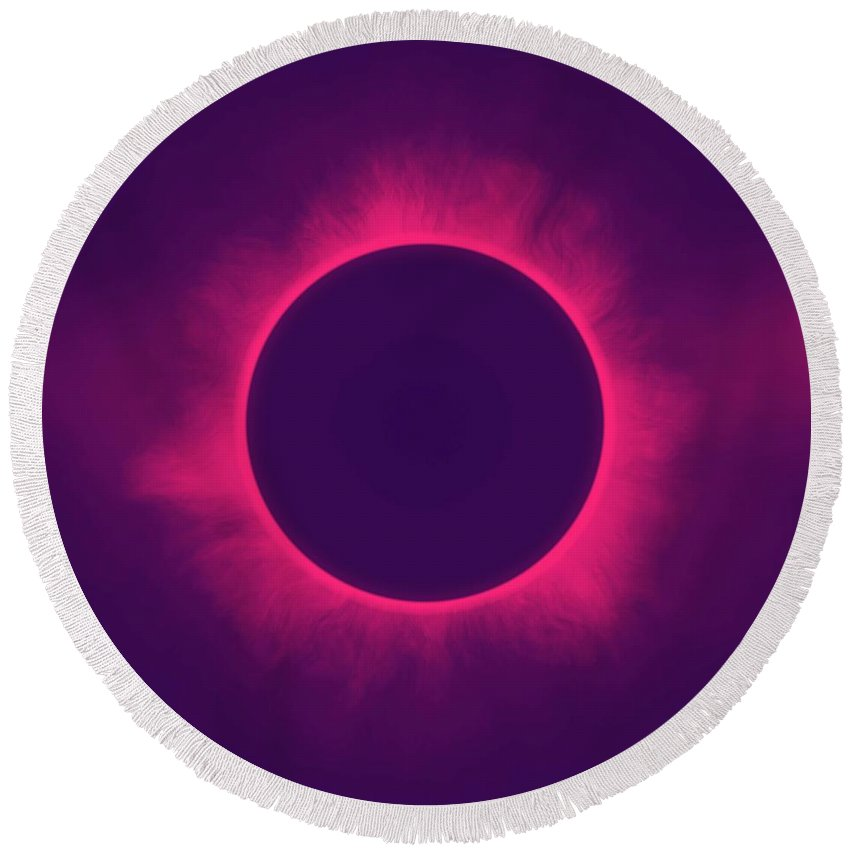 Sun Round Beach Towel featuring the painting Solar Eclipse In Hipster Colors by Celestial Images