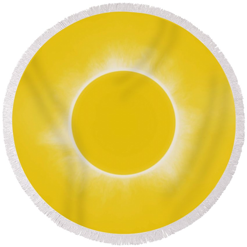 Sun Round Beach Towel featuring the painting Solar Eclipse In Lemon Colors by Celestial Images