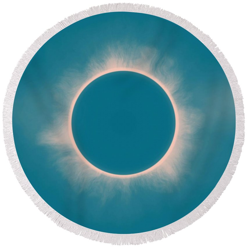 Sun Round Beach Towel featuring the painting Solar Eclipse In Morning Color by Celestial Images