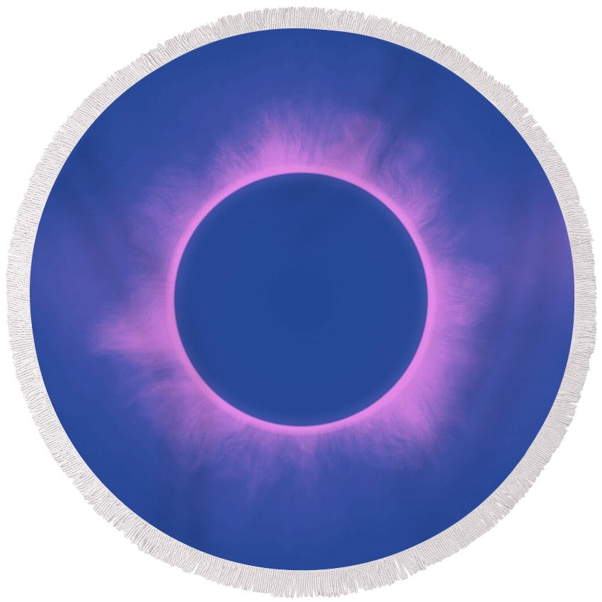 Sun Round Beach Towel featuring the painting Solar Eclipse In Purple Color by Celestial Images