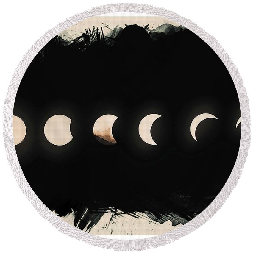 Sun Round Beach Towel featuring the painting Solar Eclipse Phases by Celestial Images