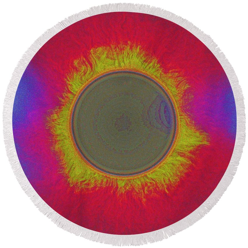 Sun Round Beach Towel featuring the painting Solar Eclipse Spectrum 3 by Celestial Images