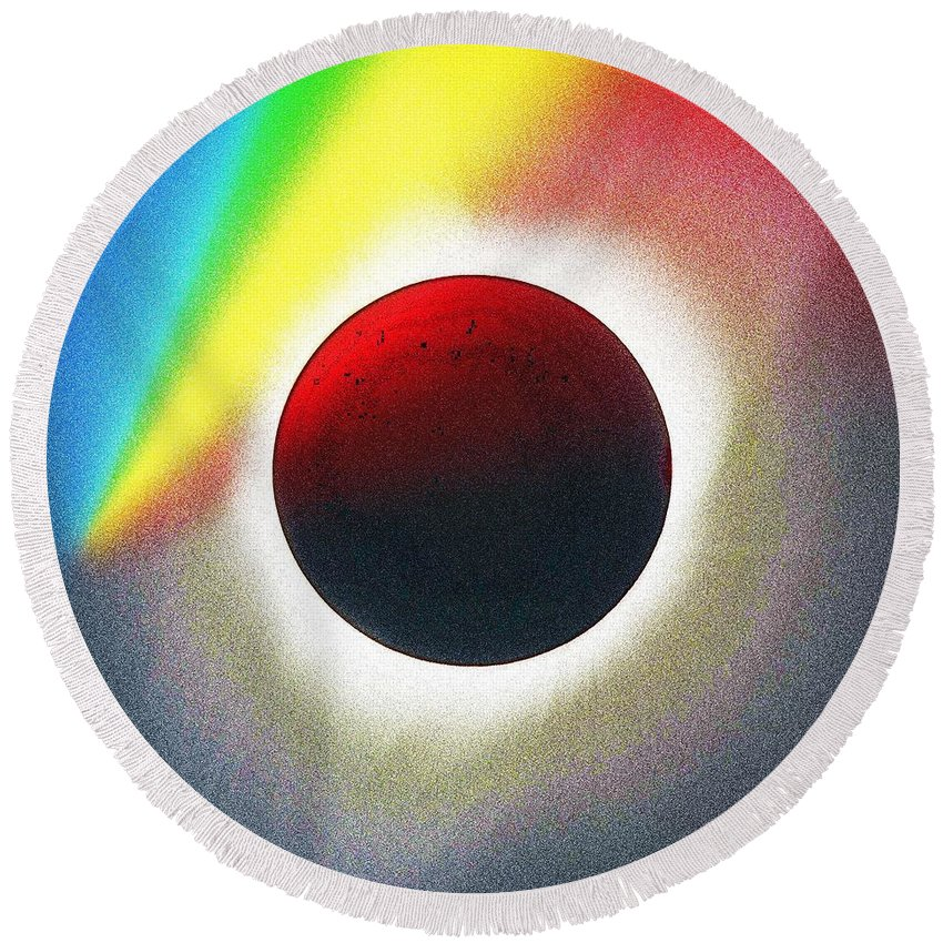 Sun Round Beach Towel featuring the painting Solar Eclipse Spectrum Of 2017 2 by Celestial Images