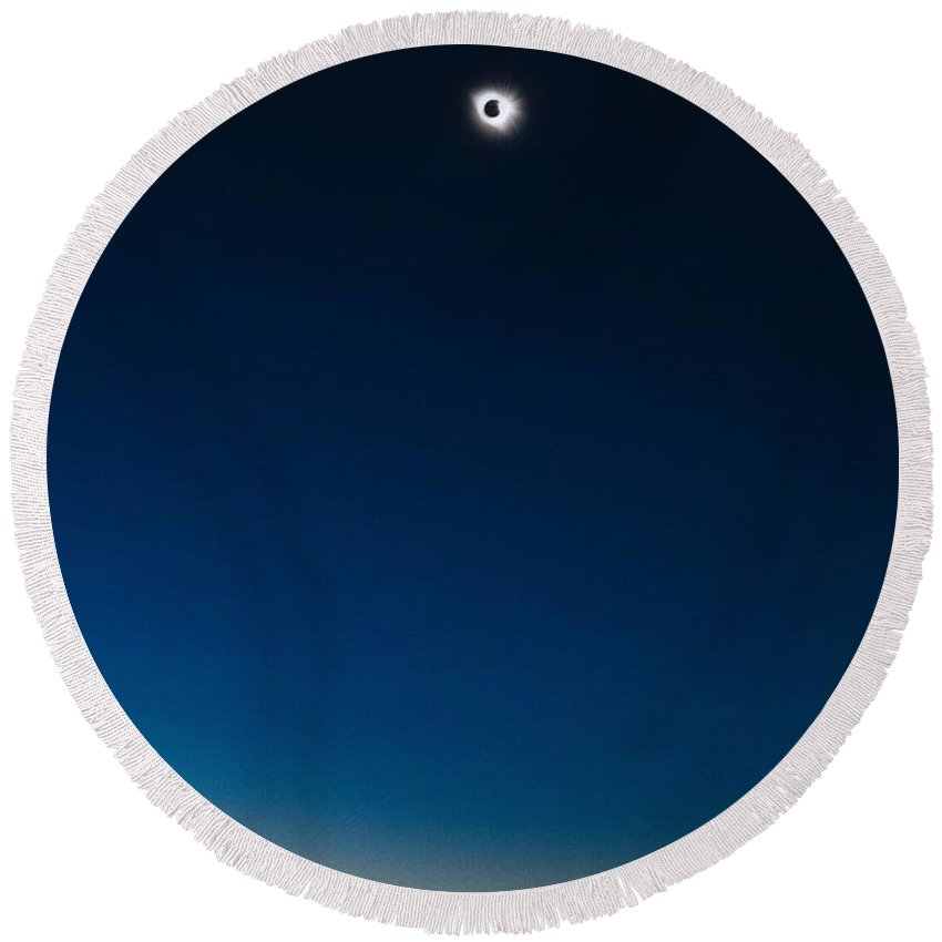 Sun Round Beach Towel featuring the painting Solar Eclipse, Syzygy, The Sun, The Moon And Earth by Celestial Images