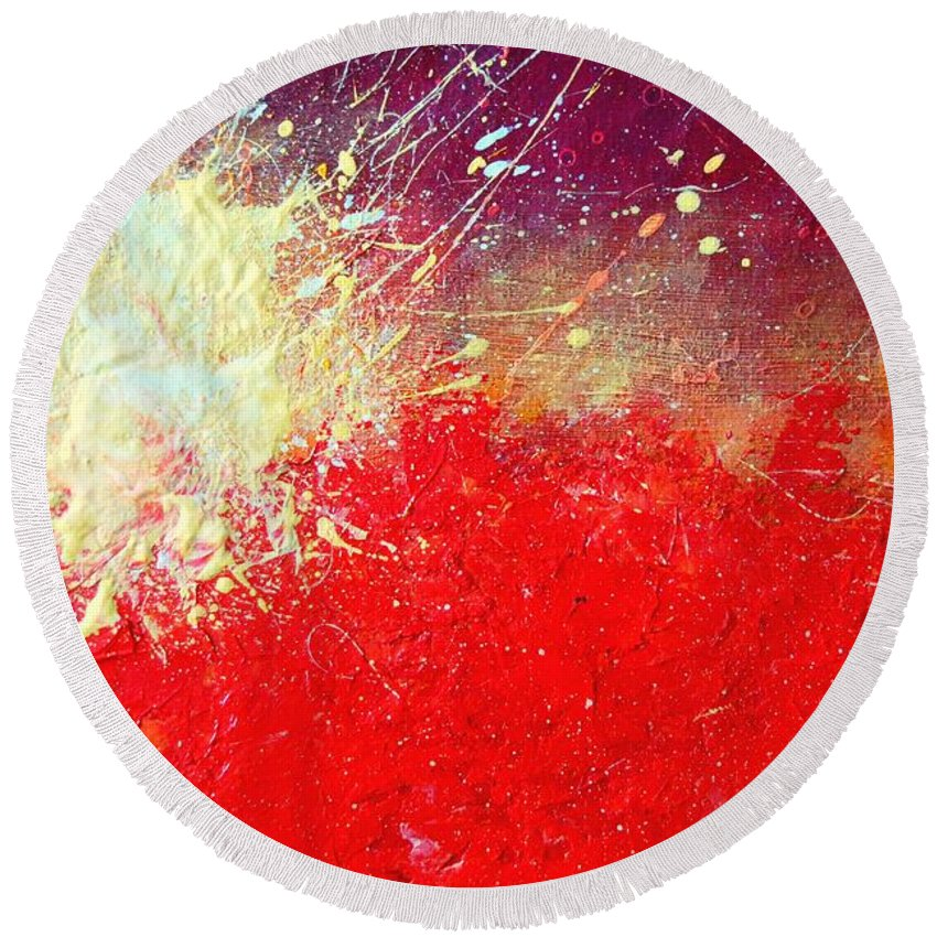 Sun Round Beach Towel featuring the painting Solar Explosion by Ana Maria Edulescu