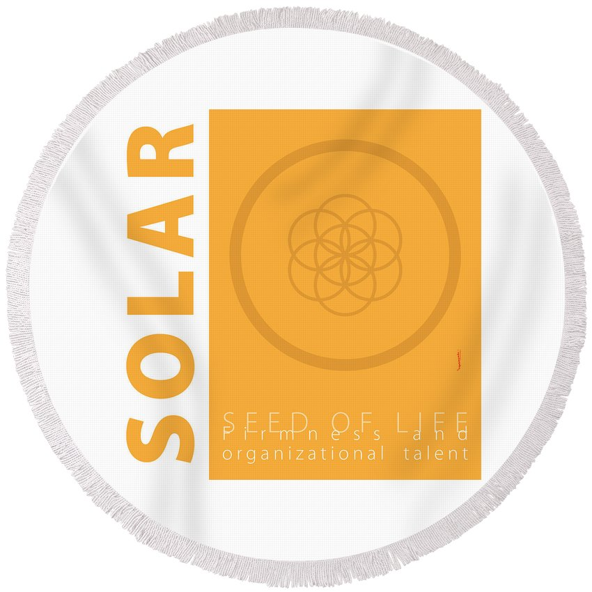 Gold Round Beach Towel featuring the digital art Solar Plexus Chakra Series Three by Experimenda