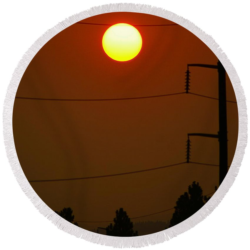 Nature Round Beach Towel featuring the photograph Solar Power Lines by Ben Upham III