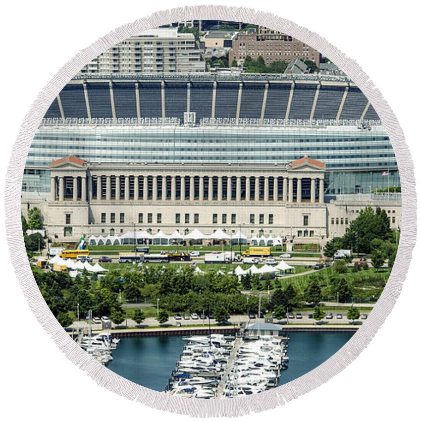 Soldier Field Round Beach Towel featuring the photograph Soldier Field Stadium In Chicago Aerial Photo by David Oppenheimer