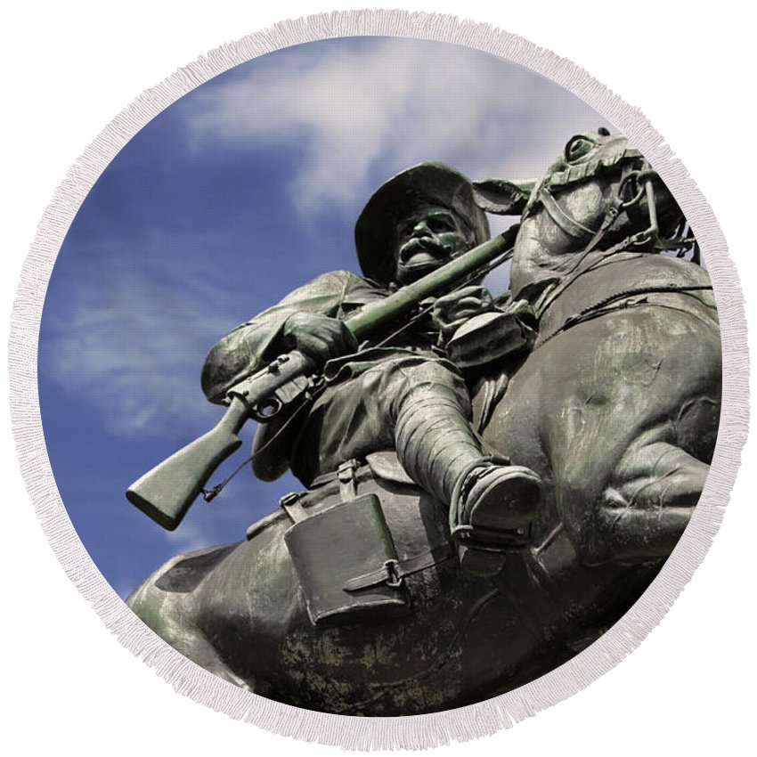 Horse Round Beach Towel featuring the photograph Soldier In The Boer War by Stephen Mitchell