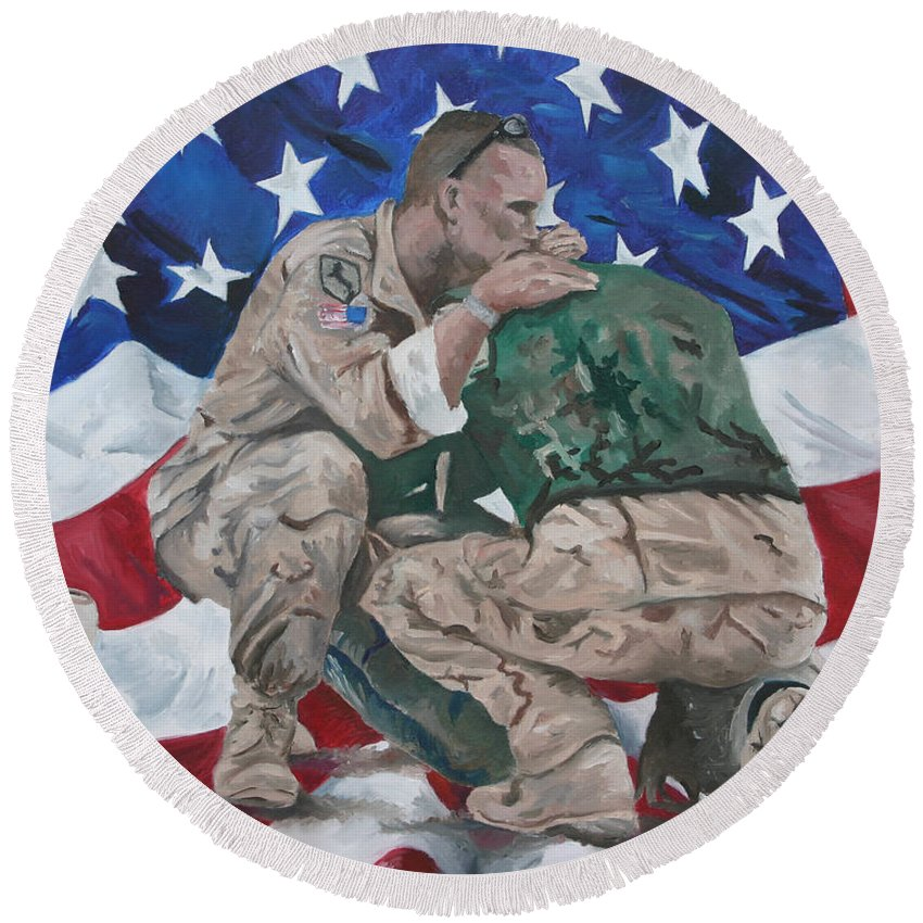 Soldiers Round Beach Towel featuring the painting Soldiers by Travis Day