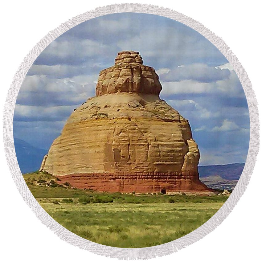 Landscape Round Beach Towel featuring the photograph Solid by Janet Willis