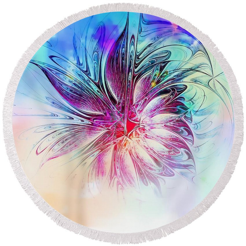 Fractal Art Round Beach Towel featuring the digital art Solitaire by Amanda Moore