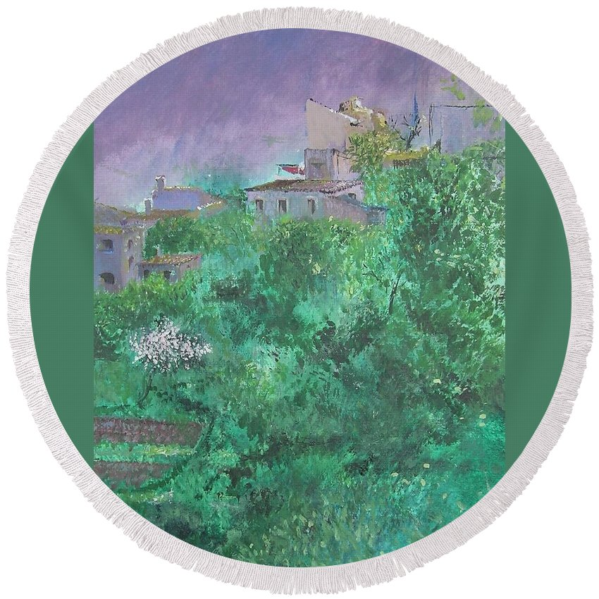 Impressionist Round Beach Towel featuring the painting Solitary Almond Tree In Blossom Mallorcan Valley by Lizzy Forrester