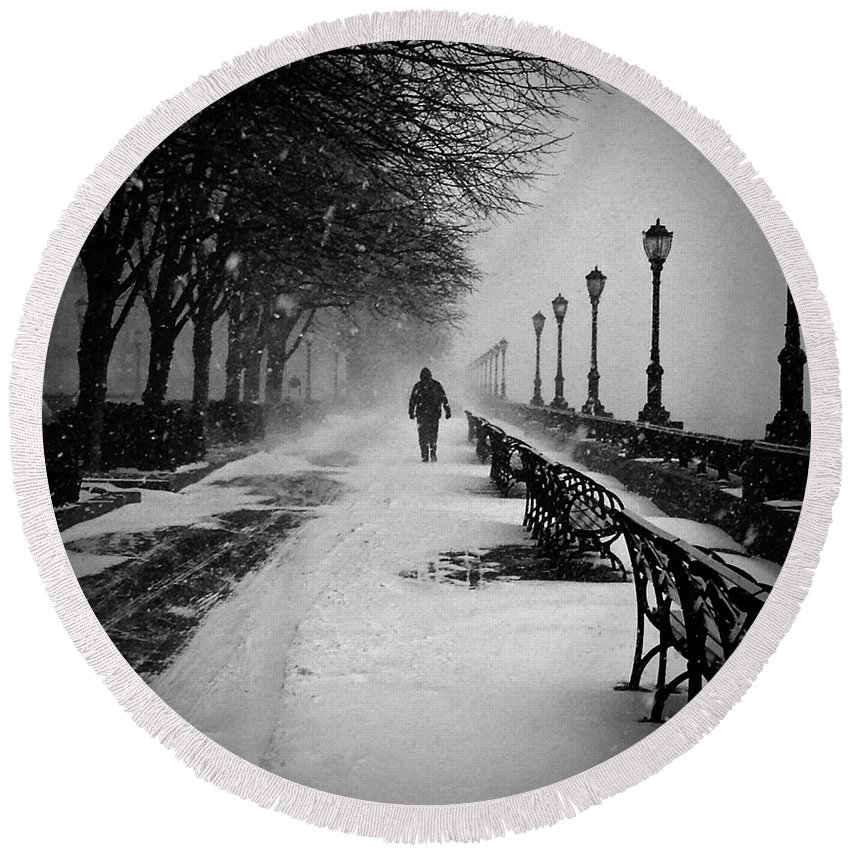 Snow Scene Round Beach Towel featuring the photograph Solitary Man In The Snow by Debra Banks