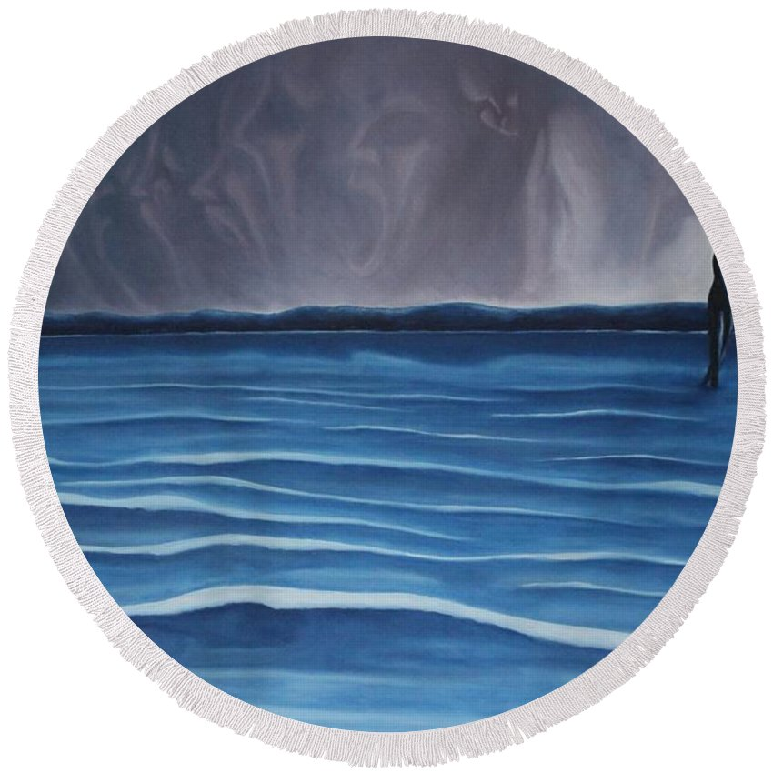 Tmad Round Beach Towel featuring the painting Solitude by Michael TMAD Finney