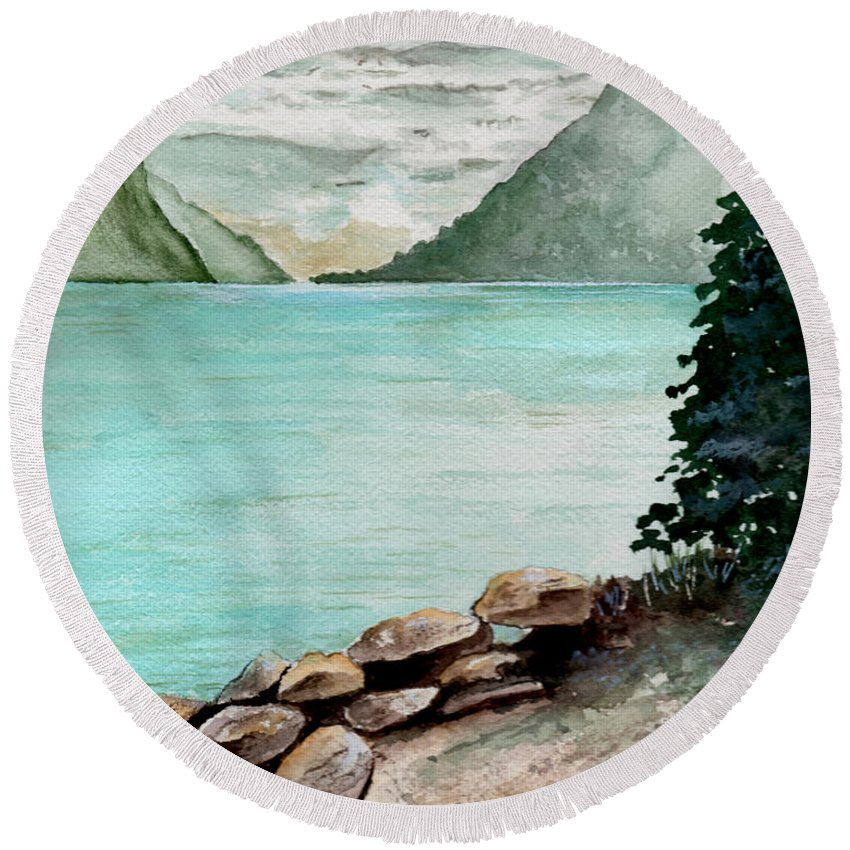 Watercolor Round Beach Towel featuring the painting Solitude Of The Lake by Brenda Owen
